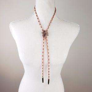 Vintage bolo tie - polished amber stone